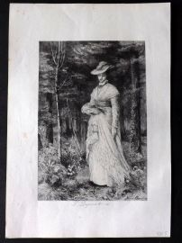 After Helen Allingham C1870's Etching. Pretty Victorian Lady in Forest